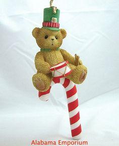 Enesco Cherished Teddies Hanging Christmas Ornament Bear With Drum Candycane MIB #Enesco