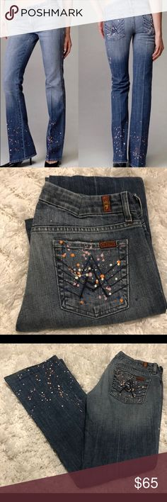 """7 For All Mankind A pocket Paint Splatter jeans 7 For All Mankind A pocket Paint Splatter jeans. Special Edition retired jeans in perfect condition. Inseam is 33"""". Low waist. 7 For All Mankind Jeans Boot Cut"""