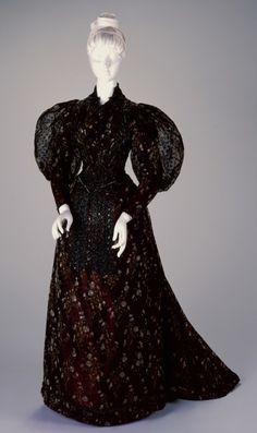 Reception Dress: Bodice and Skirt. Designer/Maker: H. & S. Pogue Co., Cinti (American, estab. 1863) Date: 1892-1893 Place of origin: Cincinnati, Ohio, United States Medium: Silk, jet beads.