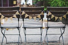 Glitter Triangle Bunting Chair Garlands - These short garlands are little bits of whimsy that are perfect for decorating chairs, photo displays (and photo booths!), cake tables, and just about anywhere!