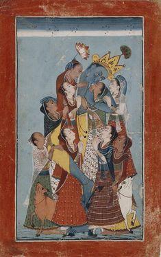 Master at the Court of Mandi (active circa Gopis Clinging to Krishna. Opaque watercolor on paper, India, Himachal Pradesh, Mandi, ca. Pichwai Paintings, Indian Paintings, Vintage Paintings, Art Indien, Indian Art Gallery, Krishna Art, Lord Krishna, Radhe Krishna, Les Religions