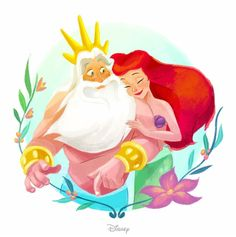 Ariel and her father, King Triton