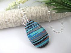 Turkey Turquoise Stone Necklace Rainbow Stone Jewelry by SimpleGem, $32.00