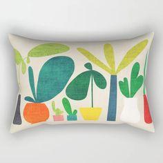 Greens Rectangular Pillow by Picomodi - X-Large x Back Pillow, Lumbar Pillow, Down Pillows, Throw Pillows, Garden Nursery, Wheelbarrow, Pillow Inserts, Accent Pillows, Hand Sewing