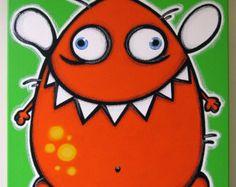 oRANgE fLyiNG mONsTER original painting on canvas for kids rooms or nursery, monster art, monster painting via Etsy Monster Art, Doodle Monster, Happy Monster, Flying Monsters, Little Monsters, Painting For Kids, Art For Kids, Drawing Videos For Kids, Learn Art