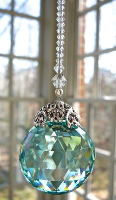 """Crystal Ball Suncatcher, Swarovski Crystal Ball, Swarovski Crystal Prism, Rainbow Maker, Available in 9 Colors -""""SERENITY"""" Swarovski Crystal Beads, Crystal Ball, Hanging Crystals, Beaded Curtains, Beads And Wire, Wire Art, Bead Crafts, Suncatchers, Wind Chimes"""