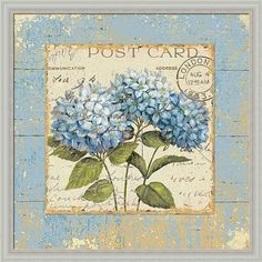 Amazon.com: Thinking of You I by Daphne Brissonnet Blue Hydrangea Vintage Floral Wall Art Print Framed Décor: Posters & Prints