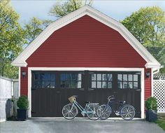 Look at the paint color combination I created with Benjamin Moore. Via Siding: Sandy Hook Gray Trim: American White Garage Doors: Stonecutter Exterior Paint Colors For House, Paint Colors For Home, Exterior Colors, House Colors, Paint Colours, Wall Colors, Garage Door Design, Garage Doors, Garage Paint