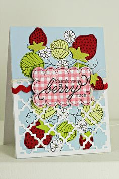 Strawberry Patch Thank You Card by Erin Lincoln for Papertrey Ink (April 2012)