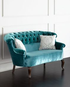 This stunning handcrafted turquoise Lulu Tufted Settee from Haute House features velvet upholstery with button tufting and an alder wood frame with dark-walnut finish. Made in the USA. Velvet Furniture, Living Room Furniture, Living Room Decor, Home Furniture, Furniture Design, Antique Furniture, Modern Furniture, Outdoor Furniture, Furniture Outlet
