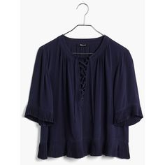 MADEWELL Sunpleat Lace-Up Top ($95) ❤ liked on Polyvore featuring tops, juniper berry, lace up top, blue crop top, madewell, blue top and pleated top