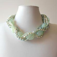 Chunky Necklace Seafoam Green Gemstone Pearl by FiveLittleGems Bridal Necklace, Bridal Jewelry, Beaded Jewelry, Jewelry Necklaces, Beaded Necklace, Hang Necklaces, Jewlery, Jewelry Box, Ideas Joyería