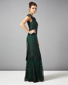 collection 8 dresses | Green Cindy Lace Full Length Dress | Phase Eight