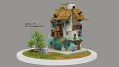3d model rumah. saya buat berdasarkan concept art yang saya ambil dari internet.