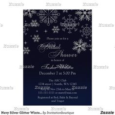 Navy Silver Glitter Winter Bridal Shower Invite Confetti Navy Blue and Silver FAUX Glitter Snowflakes Winter Bridal Shower Invitations. Fun wedding invites. Customize invitations for your weddings. #invitations #invites #weddings   #bridal - Affiliate ad link.
