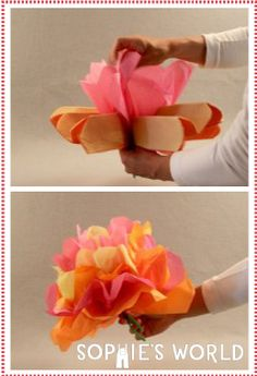 Simple Napkin Flower arrangements that are sure to brighten any occasion on sophie-world.com #flower #craft #napkin #DIY
