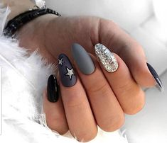 Easy Nail Designs For Winter Picture almond nails for winter stiletto nail art designs winter Easy Nail Designs For Winter. Here is Easy Nail Designs For Winter Picture for you. Easy Nail Designs For Winter almond nails for winter stiletto nail. Grey Nail Art, Grey Acrylic Nails, Stiletto Nail Art, Grey Matte Nails, Grey Nail Designs, Acrylic Nail Designs, Trendy Nails, Cute Nails, Almond Nail Art
