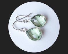 Green Amethyst Teardrop Earrings by ElunaJewelry on Etsy, $30.00