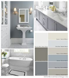 BM Rock Grey - Choosing Bathroom Wall and Cabinet Colors {Paint It Monday} The Creativity Exchange