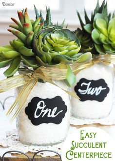These easy succulent mason jar centerpieces are very easy to make & they would be perfect for a wedding or party!
