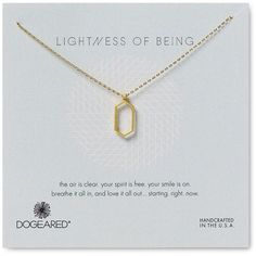 "Dogeared Lightness of Being Open Hexagon Necklace, 18"" (80 CAD) ❤ liked on Polyvore featuring jewelry, necklaces, gold, gold jewellery, dogeared jewelry, charm jewelry, yellow gold necklace and multi layered necklace"