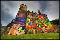 Kelburn Castle Scotland - Mural by OS Gemeos, Nina and Nunca 2007    via blackfishart.blogspot.com