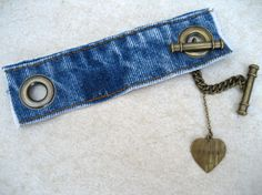 Denim Cuff Bracelet - Levi Bracelet - Levis - Bracelet - Upcycled - Blue Denim Cuff -  Jeans Bracelet  - Piece Lust. $25.00, via Etsy.