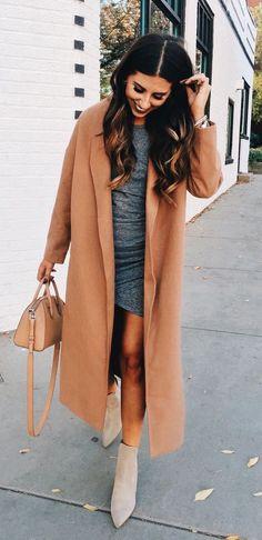 Long camel coat + grey mini dress.