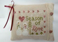 Snow Couple Cross Stitched Mini Pillow / by luvinstitchin4u, $18.95