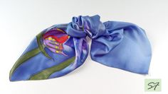 Small Square Silk Satin Scarf Hand Painted with Butterfly, Batik Scarf, Silk Gifts for Her, Blue Purple Silk Scarf, Woman Neckerchief Scarf by SilkFantazi on Etsy