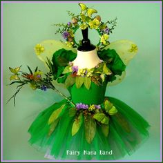 Fairy Costume - Woodland Faerie Flower Girl with Butterflies - childs size range 8 to 10. $87.85, via Etsy.