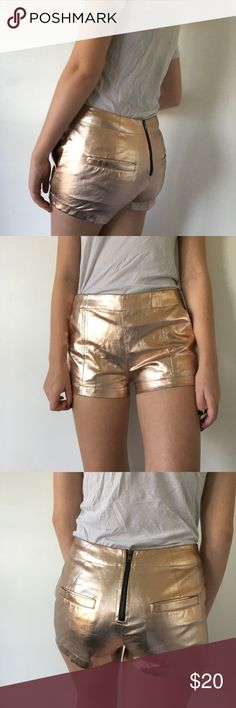 Copper/Rose Gold High Waisted Shorts These are absolute showstoppers-it's hard to get a great photo of the color. Features zipper up the back. Small scuffs due to material but they're unnoticeable. Sized medium but would recommend for sizes 3-5 US. Nameless Shorts