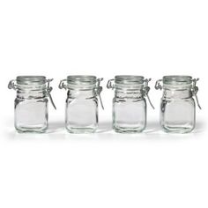 Kamenstein Square Glass Jar with Hinge Glass Lid, 4 Piece Set