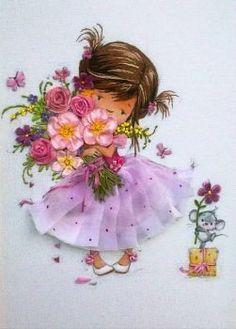 Embroidery Bags, Silk Ribbon Embroidery, Ribbon Art, Diy Ribbon, Happy Birthday Flower, Flower Phone Wallpaper, Quilling Patterns, Tatty Teddy, Vintage Artwork