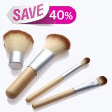 2015 hot! 4 unids manija de bambú Natural del maquillaje cepillos cosméticos Set Kit de herramientas Powder Blush cepillos con cáñamo bolso de lino(China (Mainland))