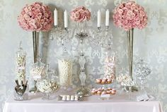 Wedding reception table dessert pink grey and white candles candy bar romantic and elegant