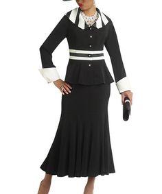 Another great find on #zulily! Black & Off-White Trumpet Skirt & Jacket - Women by Donna Vinci #zulilyfinds