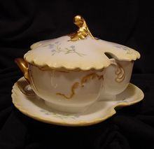 AMAZING Small Limoges Porcelain Tureen ~ Golden Cream Matte / Bisque ~ Marseille ~  Hand Painted with Blue Forget-Me-Nots Flowers ~ Haviland Co France 1888-1896