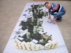 Realistic Chalk Drawing of the Terracotta Army
