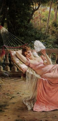 Lady lounging in a hammock painting...Charles Frederic Joseph Soulacroix …