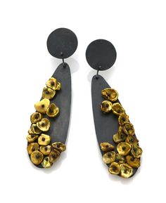 Large Tear Drop Oxidized Silver Earrings with Keishi Pearls - iris guy design