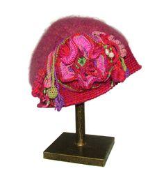 Pink Crochet felt hat beanie