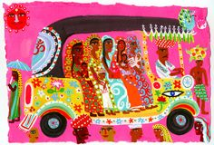 Ladies in auto rickshaw - An illustration by Christopher Corr Om Namah Shivaya, Indian Prints, Indian Art, Gouache Illustrations, Cartoon Illustrations, Indian Illustration, India Map, India Poster, Map Painting
