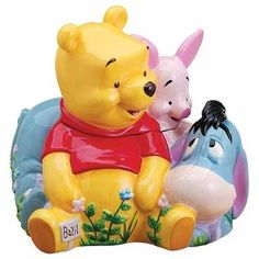 Disney Store Huge Pooh's Herb Garden Cookie Jar with Eeyore and Piglet - Kitchen Things