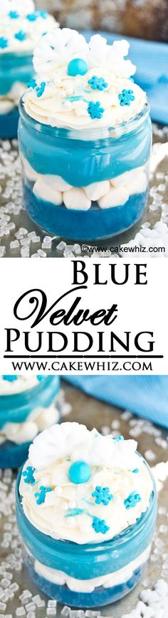 This easy to make, rich and creamy BLUE VELVET PUDDING is made with ingredients you already have in your pantry! Great for serving at Frozen movie parties or Winter parties! From cakewhiz.com