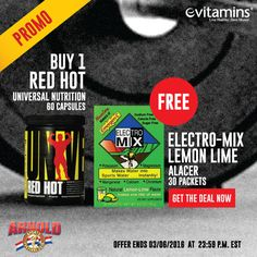 a9b0f6bf23a Buy 1 Universal Nutrition Red Hot - 60 Capsules GET FREE Alacer Electro-Mix  Lemon