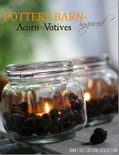 Acorn Mason Jar Votives - It All Started With Paint