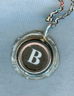 B letter Typewriter key pendant  With rhodium like by churoncalla, $35.00