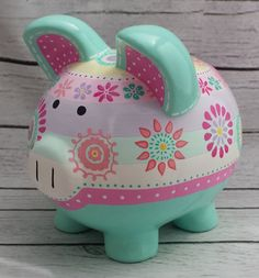 Items similar to Personalized Piggy Bank, Maya Dandelion, Artisan hand painted ceramic piggy bank ,Aqua, turquoise pink coral mint on Etsy Crafts For Girls, Diy And Crafts, Arts And Crafts, Dot Painting, Ceramic Painting, Pig Baby Shower, Toys R Us Kids, Pig Bank, Personalized Piggy Bank