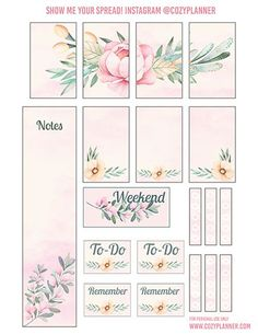 Free Printable Pretty Pink Floral Planner Stickers from Cozy Planner